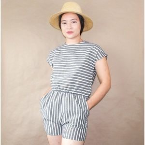 (1) rustic french country striped romper